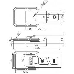 Grenouillère à ressort galvanisée longueur 173.5 mm pour remorque