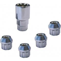 4 écrous antivol de roue coniques pour remorque