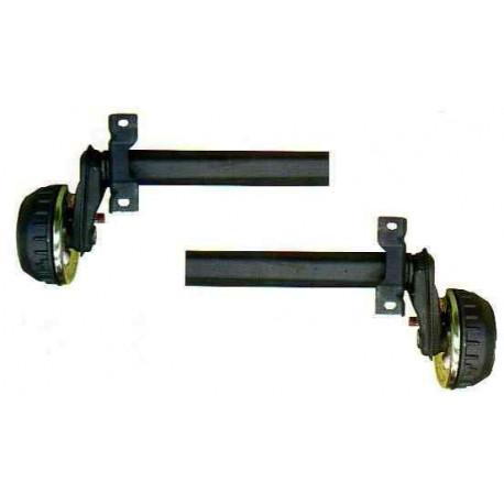 2 demi essieux remorque freinés AL-KO 750kg 4T100