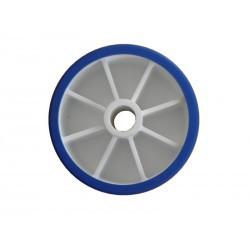 Galet bi-matière bleu 100x60 alésage 17 pour remorque