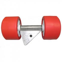 """Ensemble 2 galets rouges diamètre 120 mm support en """"V"""" sur chandelle 40 x 40"""