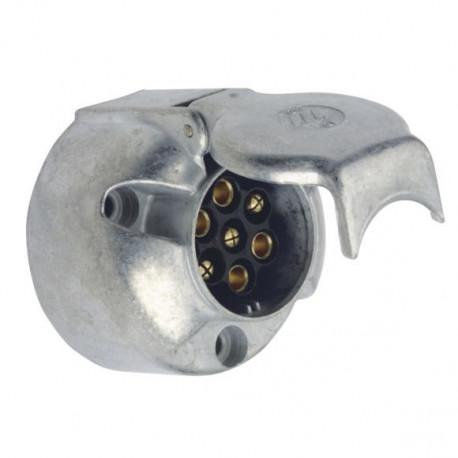 Prise socle 7 broches métal pour remorque